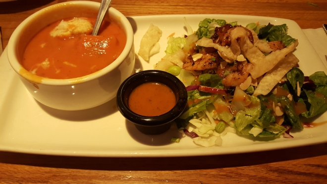 The Lunch Combo (Tomato Basil Soup with Thai Shrimp Salad)